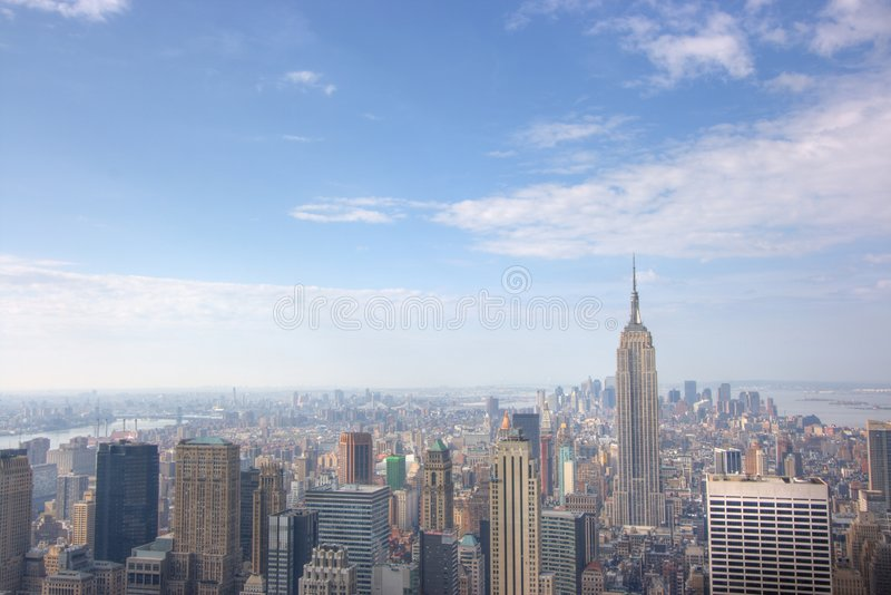 曼哈顿全景地平线 免版税图库摄影