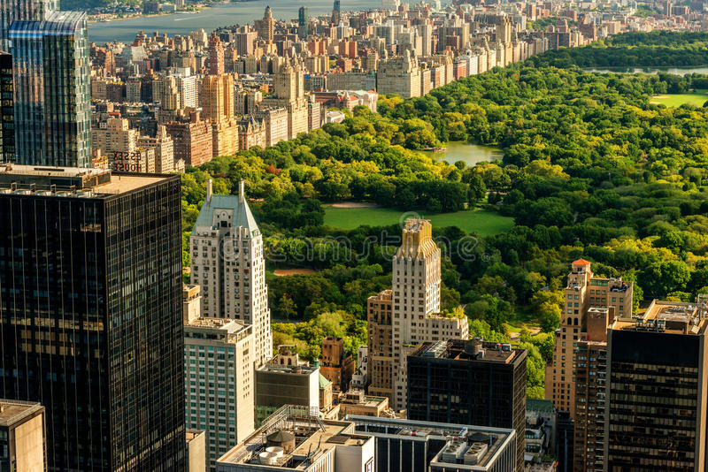 曼哈顿和中央公园视图 免版税库存图片