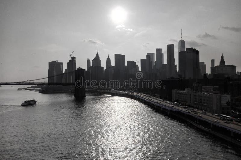 曼哈顿和各种各样的大厦的看法 免版税库存照片