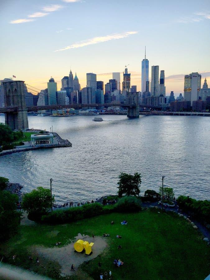 曼哈顿和布鲁克林大桥,纽约 库存图片