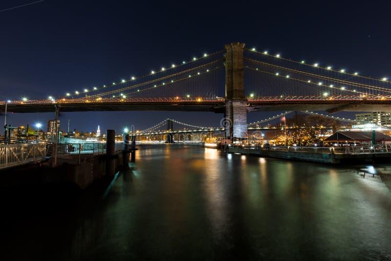 曼哈顿和布鲁克林大桥 库存图片