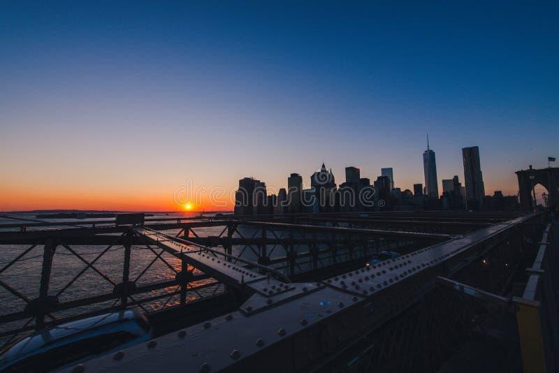 曼哈顿地平线日落 库存图片
