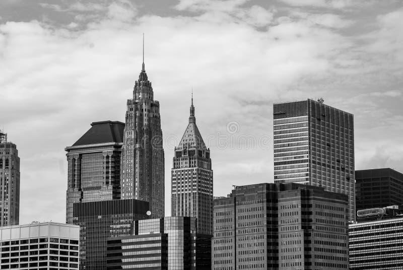 曼哈顿地平线-摩天大楼的上面视线内 库存照片