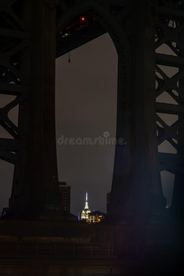 曼哈顿大桥和曼哈顿的看法从East河的河沿在晚上与帝国大厦在 免版税库存照片