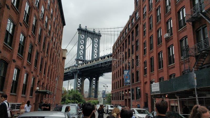 曼哈顿大桥巨大看法  免版税库存照片