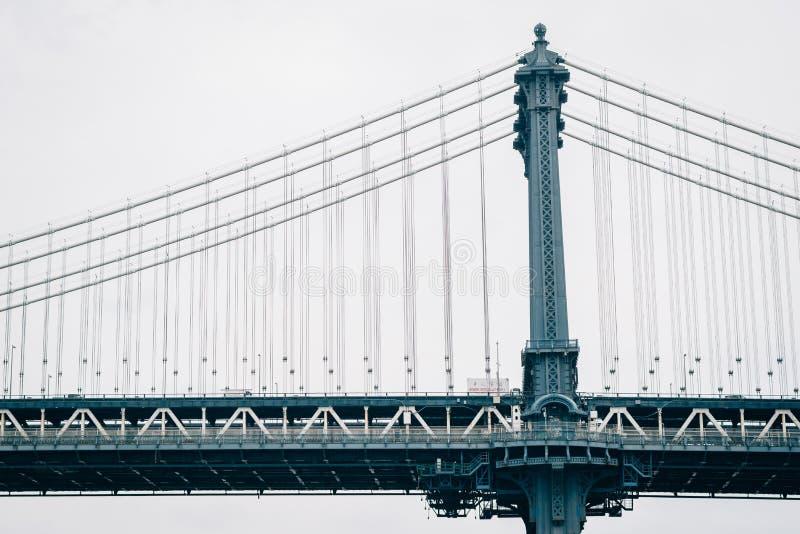 曼哈顿大桥,看见从DUMBO,在布鲁克林,纽约 库存照片