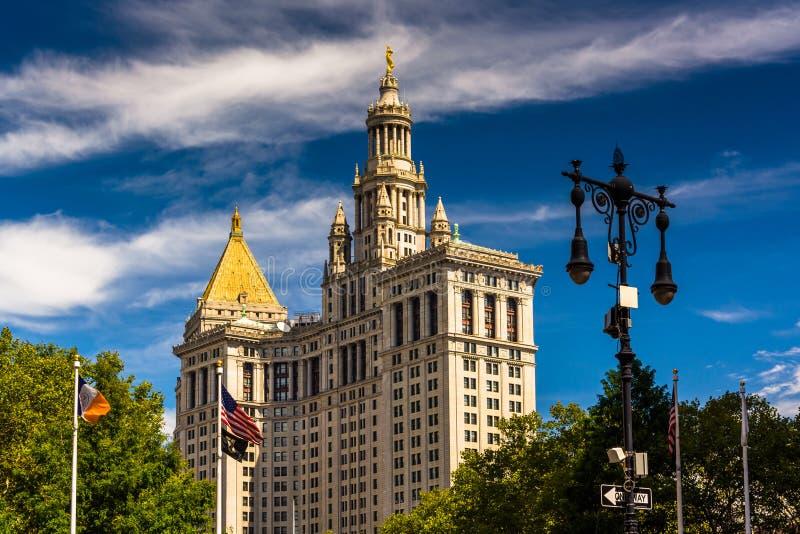 曼哈顿市政大厦在曼哈顿,纽约 免版税图库摄影