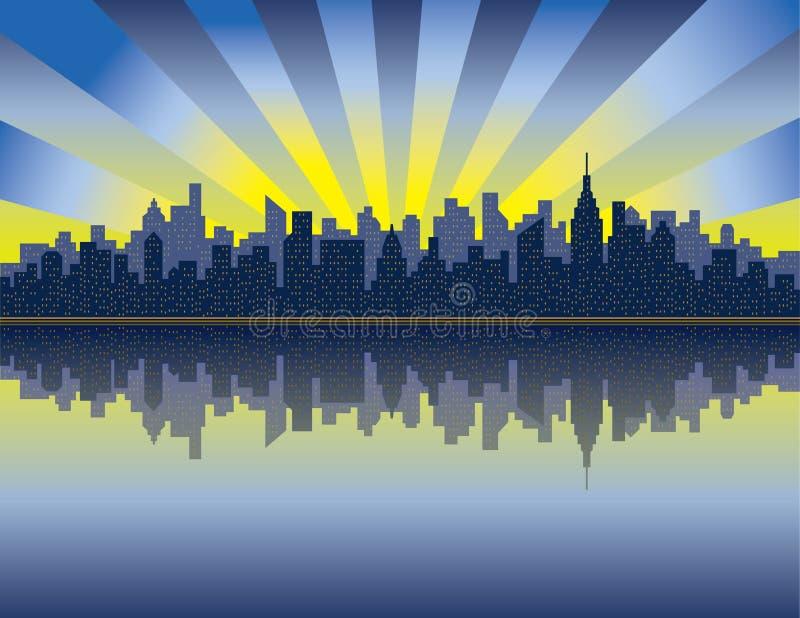 曼哈顿日出 库存例证