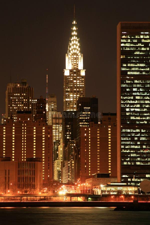 曼哈顿晚上地平线 免版税库存图片