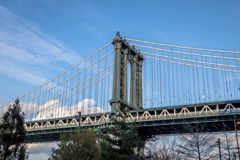 曼哈顿桥梁和从Dumbo看的曼哈顿地平线在布鲁克林-纽约,美国 图库摄影