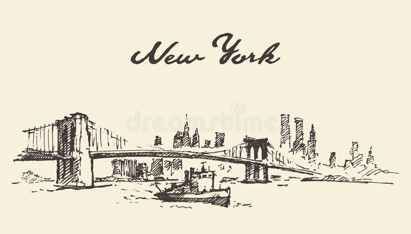 曼哈顿桥梁得出的纽约美国传染媒介 皇族释放例证