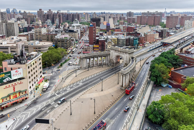 曼哈顿桥梁柱廊入口-纽约 库存图片