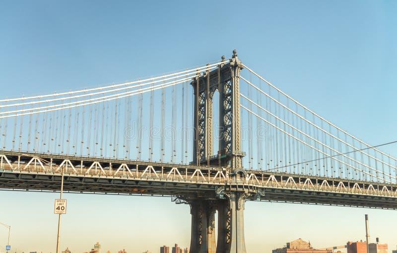 曼哈顿桥梁,纽约侧视图  免版税库存照片