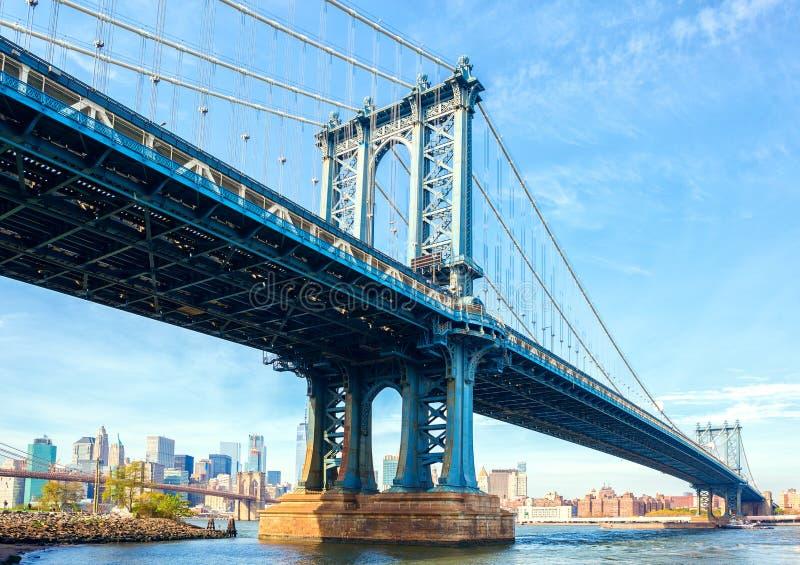 曼哈顿桥梁,纽约,美国 在背景曼哈顿和布鲁克林大桥中 免版税库存图片