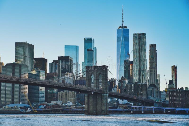 日落的曼哈顿 库存照片