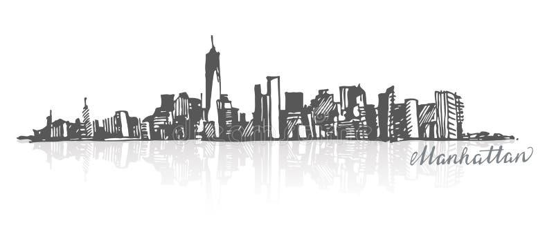 曼哈顿纽约剪影  库存例证
