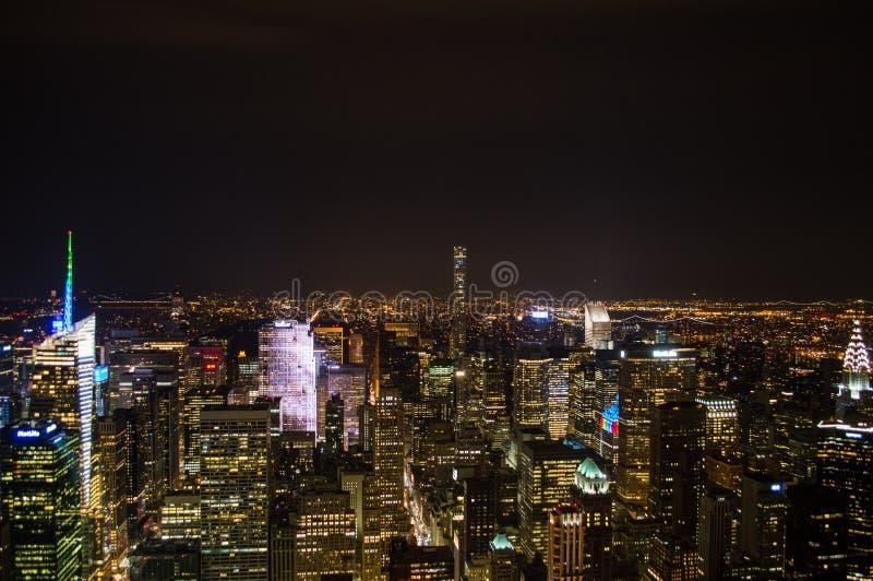 曼哈顿,中间地区,从帝国大厦的观察台看见的时代广场在晚上 库存照片