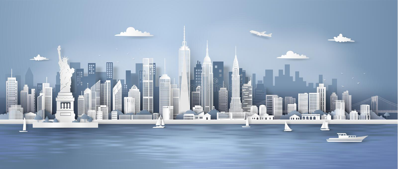 曼哈顿,纽约与都市摩天大楼的全景地平线 向量例证