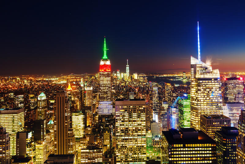 曼哈顿,纽约夜视图  免版税库存照片