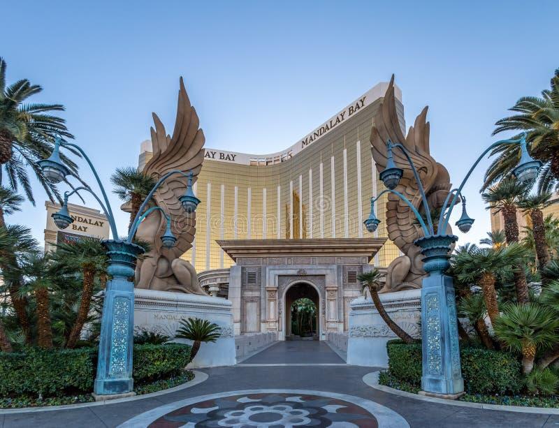 曼德勒海湾旅馆和赌博娱乐场入口-拉斯维加斯,内华达,美国 免版税库存照片