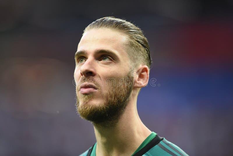 曼联和西班牙全国足球队守门员大卫・迪基亚 免版税库存照片