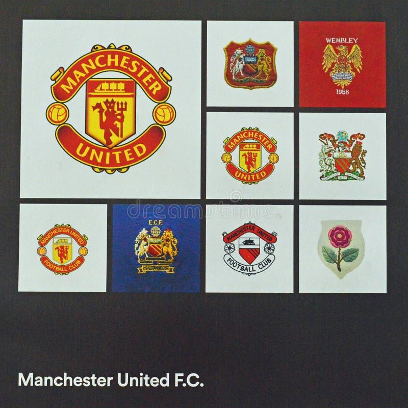 曼联足球俱乐部橄榄球徽章 免版税库存图片
