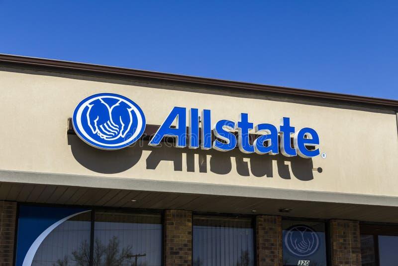 曼西-大约2017年3月:Allstate保险商标和标志II 库存图片