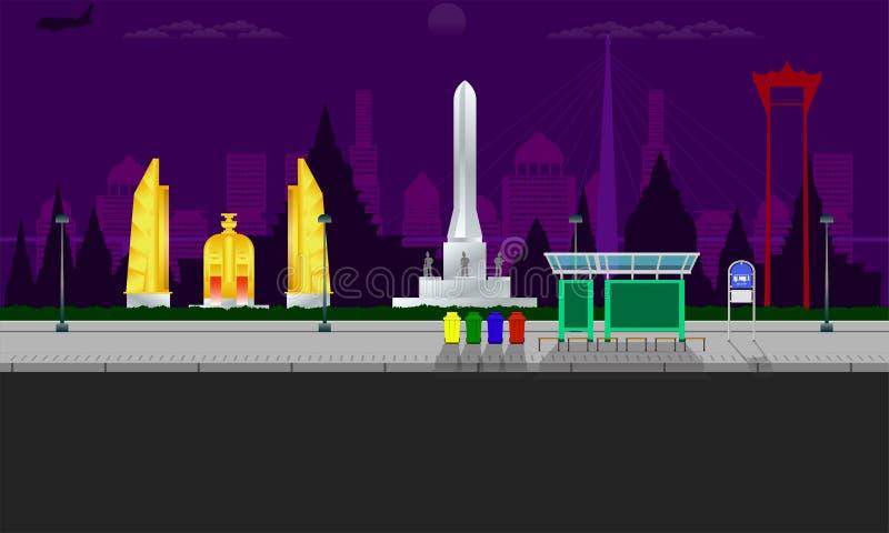 曼谷与纪念碑纪念民主摇摆杆大厦传染媒介例证eps10的市视图 皇族释放例证