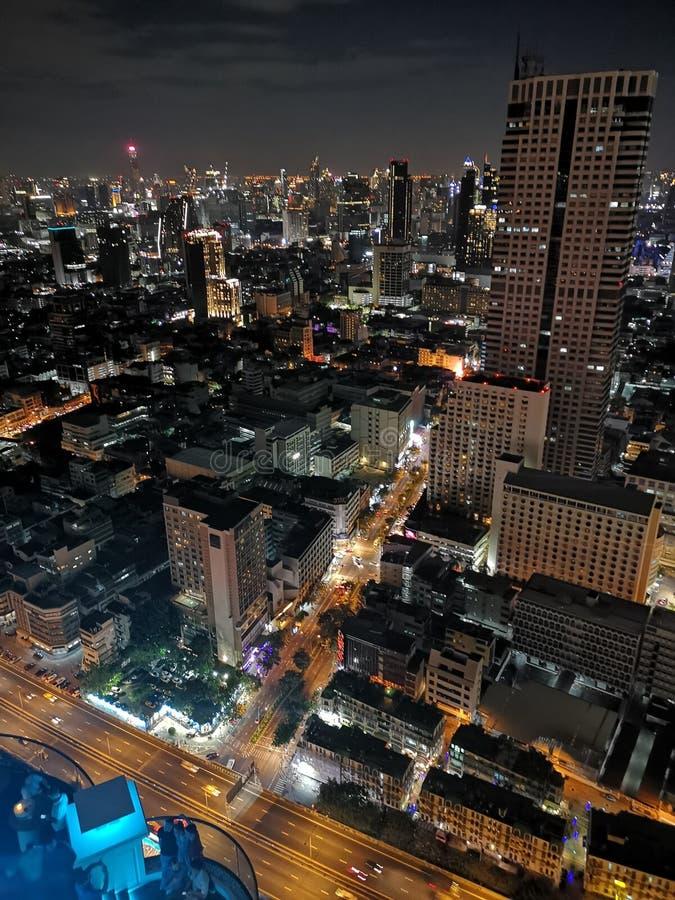 曼谷从上面的夜视图 免版税图库摄影
