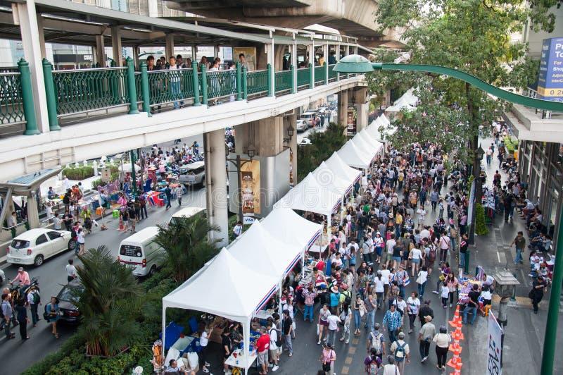 曼谷停工2014年 库存照片