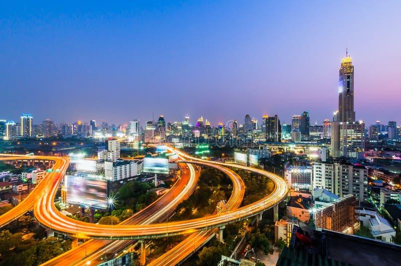 曼谷在与明确方式的晚上 库存照片