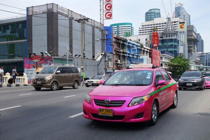 曼谷在街市街道上的计程表 库存照片