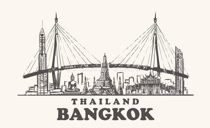 曼谷地平线,泰国葡萄酒传染媒介例证,白色背景的手拉的曼谷市 向量例证