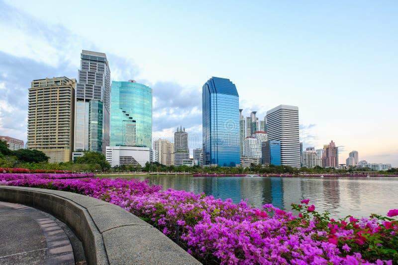 曼谷市地平线Asoke现代大厦,泰国 Citysc 免版税图库摄影