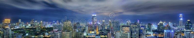 曼谷市夜视图 图库摄影