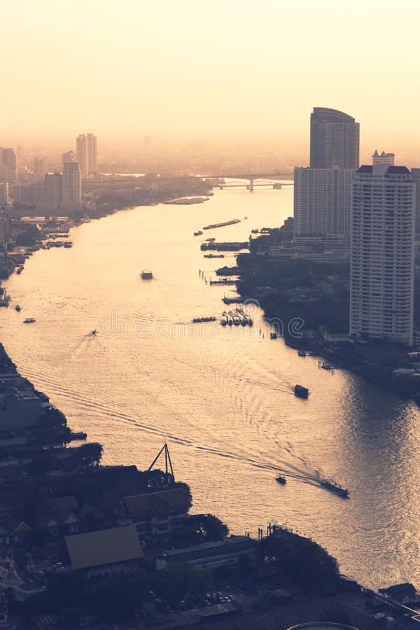 曼谷市概要 免版税库存照片