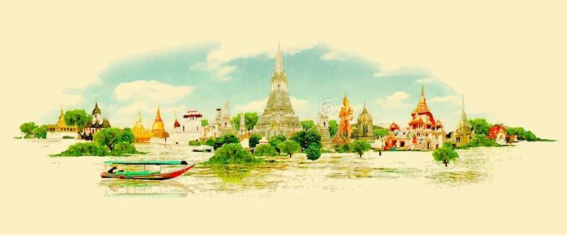 曼谷市 向量例证