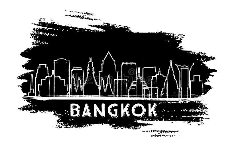 曼谷泰国市地平线剪影 手拉的草图 库存例证