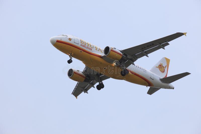 曼谷泰国- MAY25 :不丹航空公司PR客机  免版税图库摄影