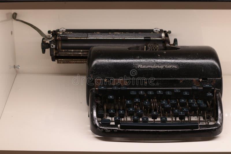 曼谷泰国Sep2018:雷明顿打字机黑色陈列 免版税图库摄影