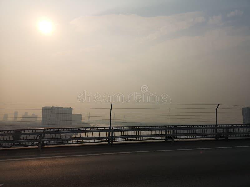 曼谷泰国The天气isnot明亮的毒性烟今天上午 免版税库存图片