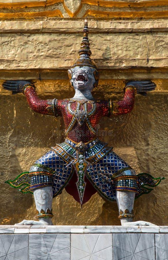 曼谷玉佛寺的邪魔监护人,曼谷著名地标泰国 图库摄影