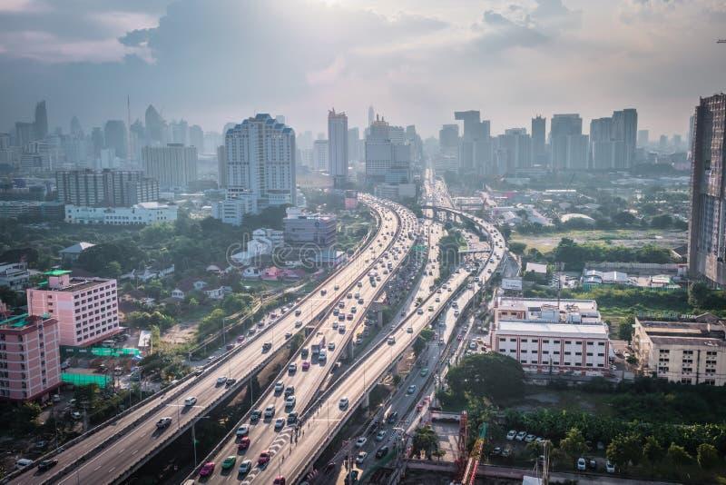 曼谷现代办公室企业大厦都市风景视图  大厦在曼谷,泰国 库存图片