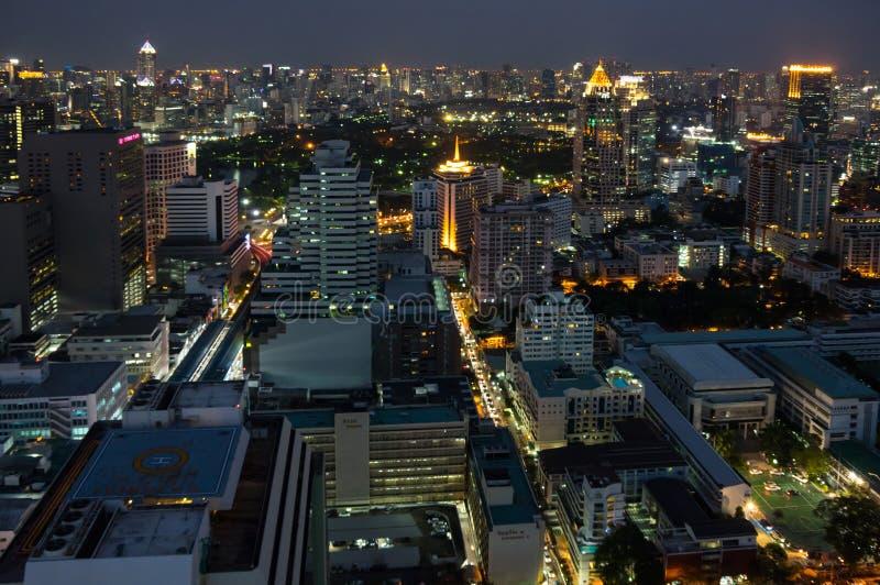 曼谷顶视图夜 库存照片