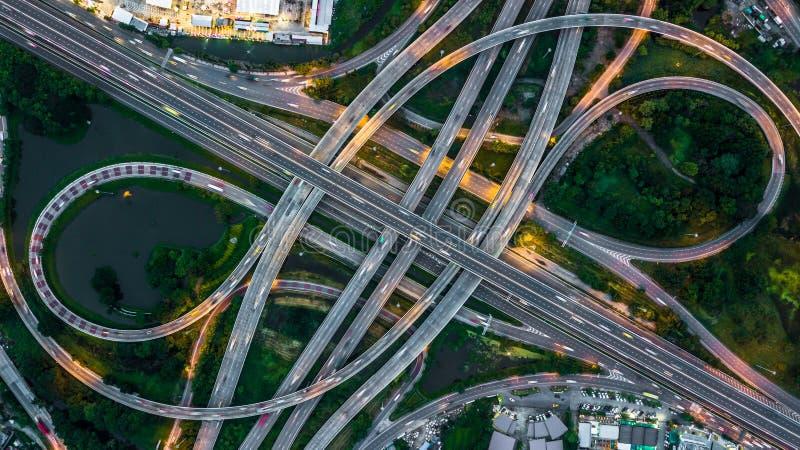 曼谷高速公路顶视图,在高速公路的顶视图, expresswa 免版税库存图片