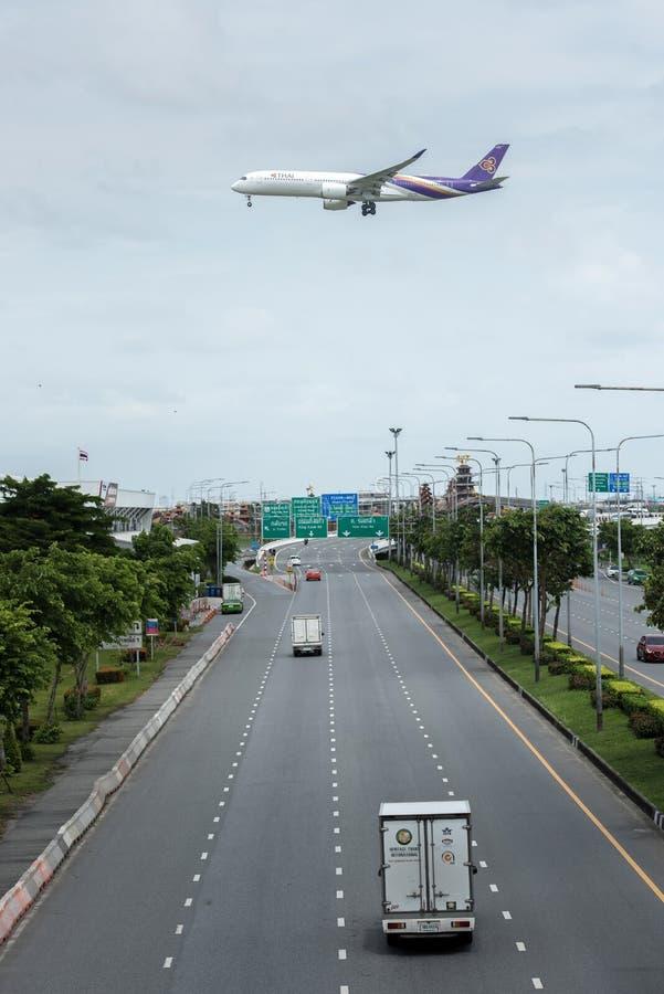 曼谷,泰国, 2018年8月12日:泰航Reg 否 HS-THE A 库存图片