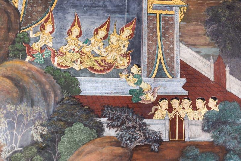 曼谷,泰国- 2018年10月28日:传统泰国绘画 库存照片
