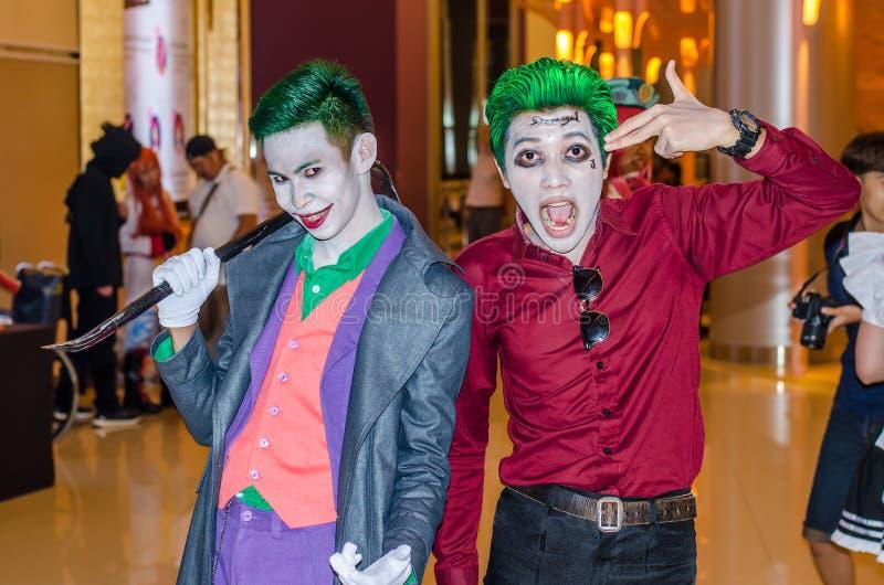 曼谷,泰国- 2017年4月22日:摆在的Cosplay说笑话者 库存照片