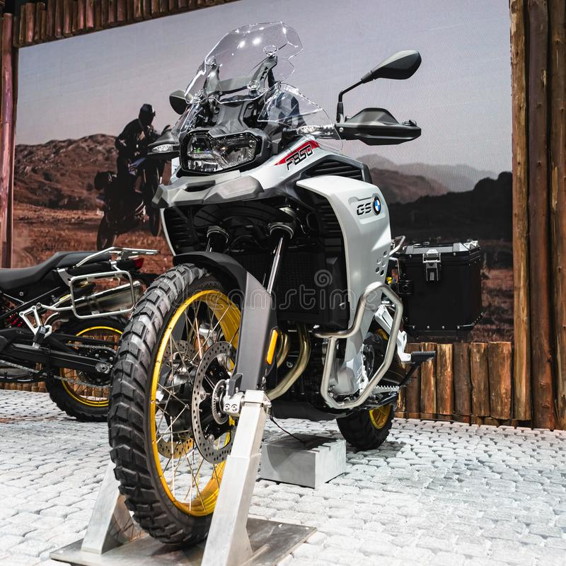 曼谷,泰国- 2019年8月10日:游览自行车的BMW GS F850体育 免版税库存图片