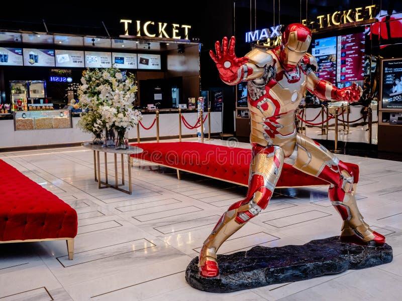 曼谷,泰国- 2019年5月7日:铁人式样展示在复仇者最后阶段iconsiam的,铁人陈列摊是虚构的 免版税库存图片